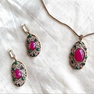 Artisan Indian NWT Vermeil Fuchsia Stone Necklace